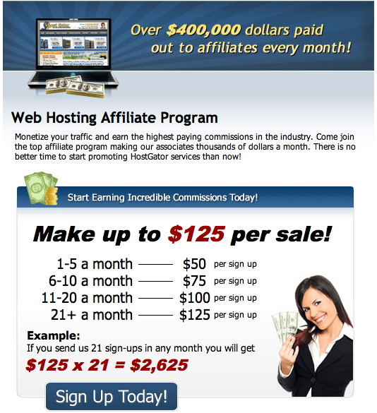 Host Gator affiliate program pays out over $400,000 in commissions to affiliates every month!